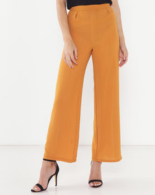 Legit Lurex Stripe Wideleg Pants Rust