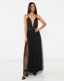Legit Strappy Lace Bodice Maxi Prom Dress Black