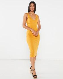 Legit V-Neck Tune Misi Dress Mustard