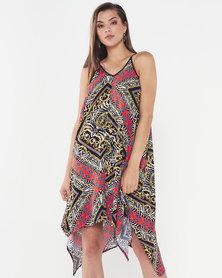 Legit Scarf Print Hanky Hem Dress Multi