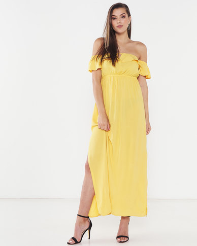 Legit Bardot Maxi Dress Mustard