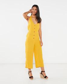 Legit Halter Button Thru Culotte Jumpsuit Mustard