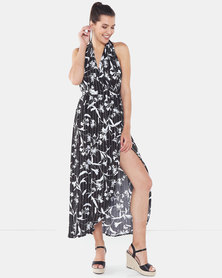 Legit Floral Infinity Maxi Dress Black/White