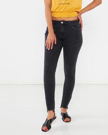 Legit Step Fray Hem Skinny Jeans Black