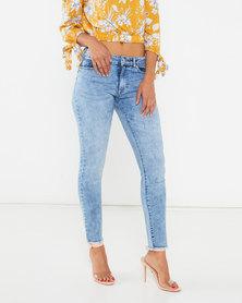 Legit Hilo Fray Hem Marble Acid Skinny Jeans Marble Acid