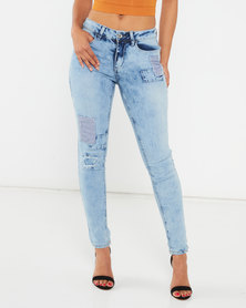 Legit Patch Marble Acid Skinny Jeans Marble Light Wash Blue