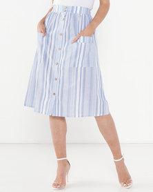 Legit Striped Button Thru Flare Midi Skirt White/Blue