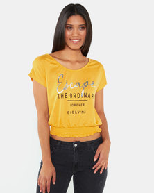 Legit Shirred Hem Screen Tee Mustard