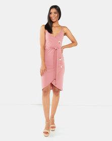 Legit Wrap Button Detail Bodycon Dress Blush
