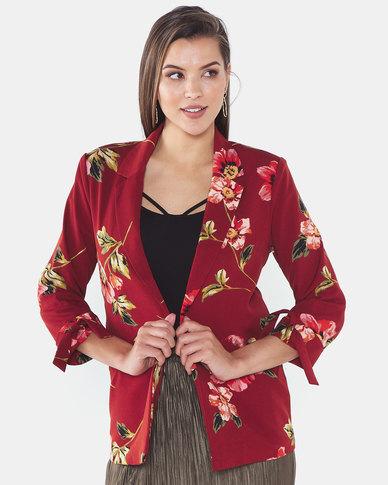Legit Floral Blazer Floral Red