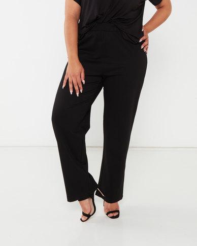 Queenspark Plus Collection Black Button Detail Knit Pull On Pants Black