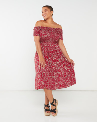 Queenspark Plus Collection Smocked Woven Dress Red