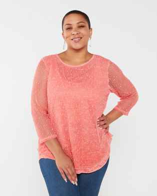 Queenspark Plus Collection Layered Burnout Knit Top Coral