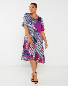 Queenspark Plus Collection Short Sleeve Printed Umbrella Knit Dress Navy