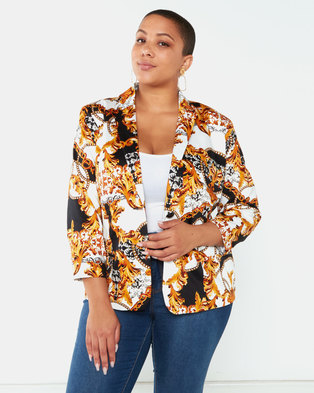 Queenspark Plus Collection Chain Printed Woven Jacket Black