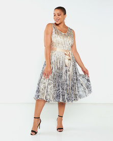 Queenspark Plus Collection Printed Ribbon Flared Knit Dress Gold