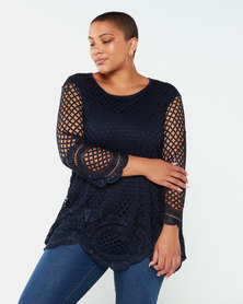 Queenspark Plus Collection Crochet Glamour Knit Top Navy