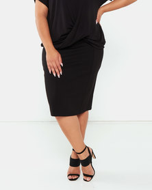 Queenspark Plus Collection Ponte Knit Skirt Black
