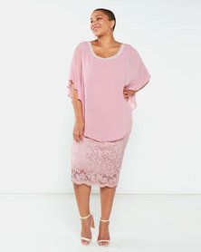Queenspark Plus Collection Overlay Pearl Trim Lace Glamour Knit Dress Soft Pink