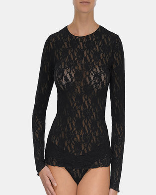 Hanky Panky Signature Lace Long Sleep Top - Black