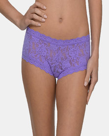 Hanky Panky Rolled Signature Lace Boy Short- Purple