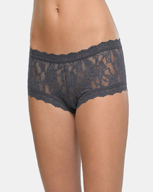Hanky Panky Rolled Signature Lace Boy Short- Charcoal