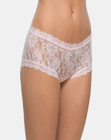 Hanky Panky Rolled Signature Lace Boy Short- Pale Pink