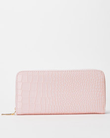 Utopia Croc Zip Purse Soft Pink
