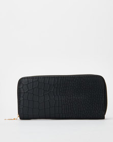 Utopia Croc  Zip Purse Black