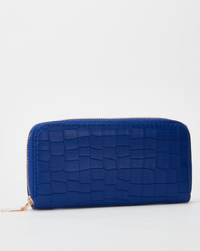 Utopia Croc Zip Purse Navy