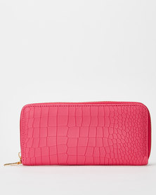 Utopia Croc Zip Purse Bright Pink