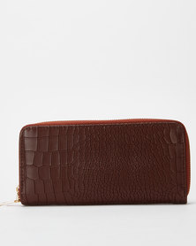 Utopia Croc Zip Purse Burgundy