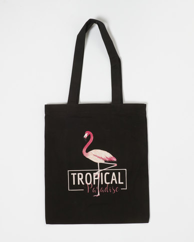 Utopia Flamingo Shopper Black