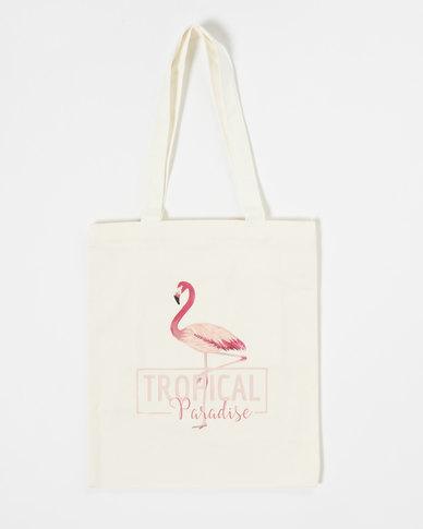 Utopia Flamingo Shopper White