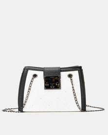 Utopia Quilted Handbag with Chain Strap White/Black