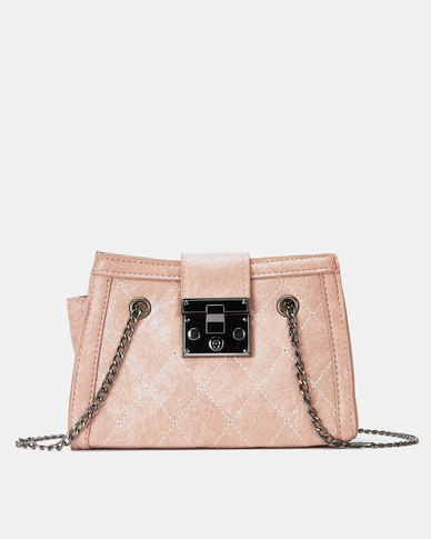 Utopia Quilted Handbag with Chain Strap Soft Pink