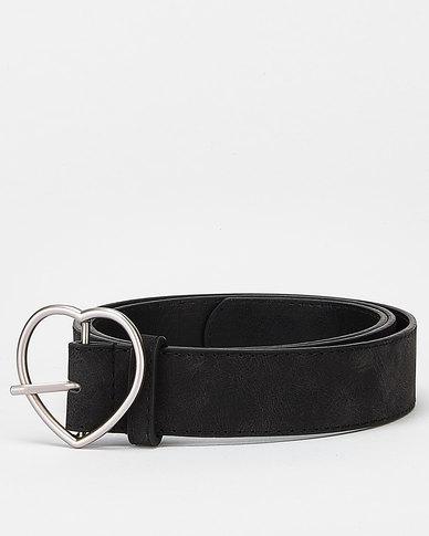 Utopia Heart Buckle Belt Black