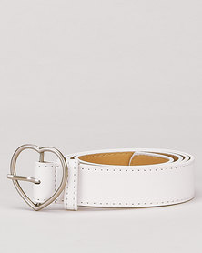Utopia Heart Buckle Belt Milk