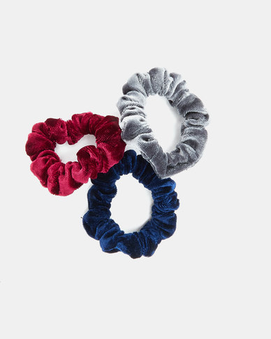 Utopia Scrunchie 3 Pack Burgundy/Navy/Grey