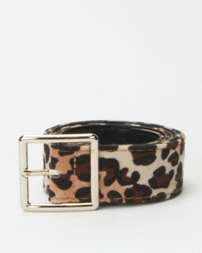 Utopia Leopard Print Belt-Square Buckle Nude