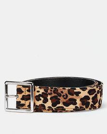 Utopia Square Buckle Belt Leopard Print