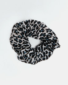 Utopia Hair Scrunchie Grey Leopard Print