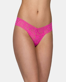Hanky Panky Rolled Signature Lace Low Rise Thong - Medium Pink