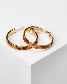 Utopia Tortoise Shell Hoop Earrings Brown