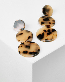 Utopia Circle Tortoise Shell Drop Earrings Nude