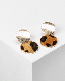 Utopia Drop Earrings Gold & Leopard Print