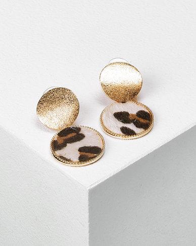 Utopia Drop Earrings Gold & Leopard Print