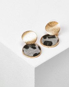 Utopia Drop Earrings Gold & Leopard Print Grey