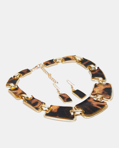 Utopia Necklace and Earring Set Leopard Print Multi