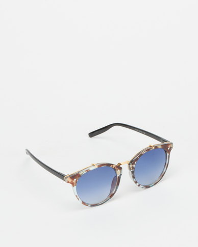 Utopia Colour Lense Sunglasses Transparent Tortoise Shell/Blue